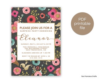 Floral Birthday Invitation - Birthday Party Invite - Surprise, 40th, 50th, etc.  - Printable Digital, PDF FILE