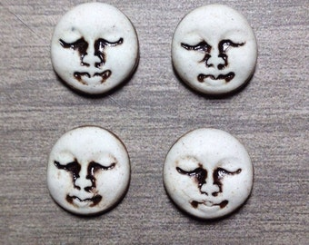 Set of Four Small Round Ceramic Face Stone Cabochons in Pewter and Bone White