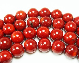 Red Bamboo Coral Round Gemstone Beads
