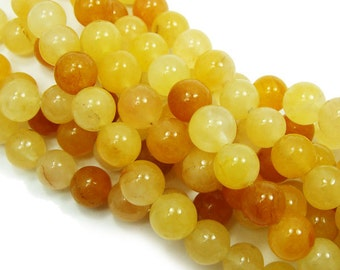 Yellow Jade Round Gemstone Beads