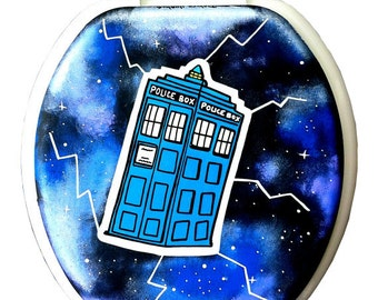 Doctor Who TARDIS Hand Painted Toilet Seat Rock Bathroom Decor Remodel
