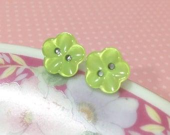 Lime Green Flower Earrings, Green Daisy Studs, Flower Stud Earrings, Pearly Lime Green Stud Earrings Scooped Petals, Button Studs (LB1)