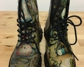 """Dr. Martens Hieronymus Bosch """"Heaven"""" and """"Hell"""" imagery on Pascal Boots US size 6 (women) or US size 5 (men)"""