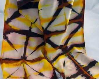 SALE! Shibori/Itajime rayon scarf #109