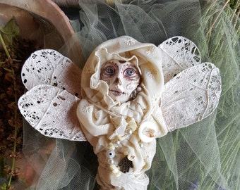 Sugar skull, Textile art doll, OOAK Art Doll, Dragonfly Spirit, Wall art, Briday shower gift, Ooak art doll, button collector