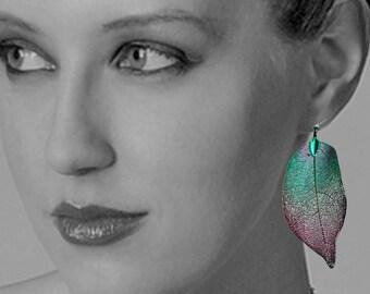 Handmade Iridescent Earrings Leaf Earrings Boho Earrings Genuine Leaf Earrings Aspen Leaf