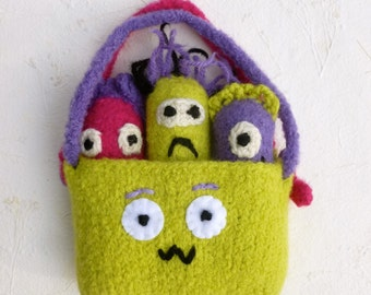 Monster play set Monsters in a pouch peg doll set Waldorf inspired Monster finger puppets