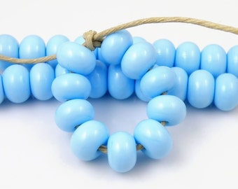 224 Light Sky Blue Spacers - Handmade Lampwork Glass Beads 5mm - SRA (Set of 10 Spacer Beads)