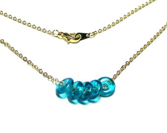 Simple necklace, Simple bead necklace, Everyday necklace, Single chain necklace, Czech beads necklace, Teal necklace, Donut beads necklace