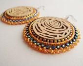 Native American Beaded Yellow Rose Earrings