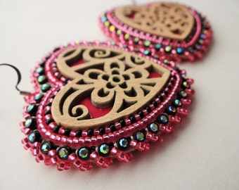 Native American Beaded Pink Heart Earrings