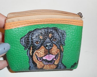 Rottweiler Dog Hand Painted Leather Coin Purse Vegan