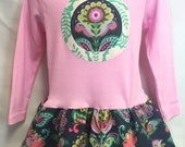 Girls Long Sleeve Tunic Dress Light Pink with Floral Applique