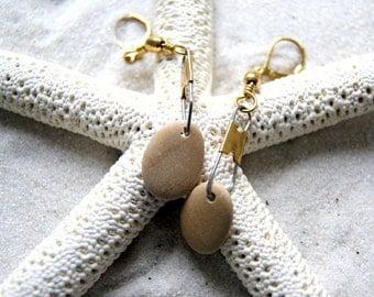 Beach Pebble Earrings - Beach Stone Earrings - nautical fashion