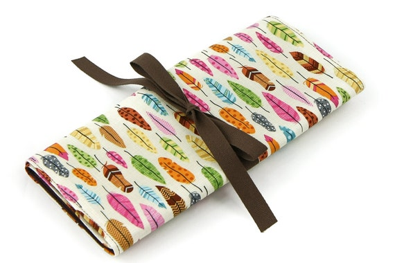 Short Knitting Needle Case Organizer - Feathers - brown pockets for circular, double pointed, interchangeable or travel