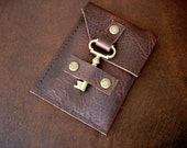 Leather Business Card Case with Antique Brass Key Closure - Credit Card Holder - Mahogany Bison Wallet