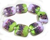 SRA Lampwork Fairy Garden Squeezed Handmade Glass Lampwork Beads