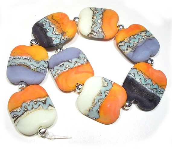 Zen Squeezed Handmade Glass Lampwork Beads, Etched Lampwork