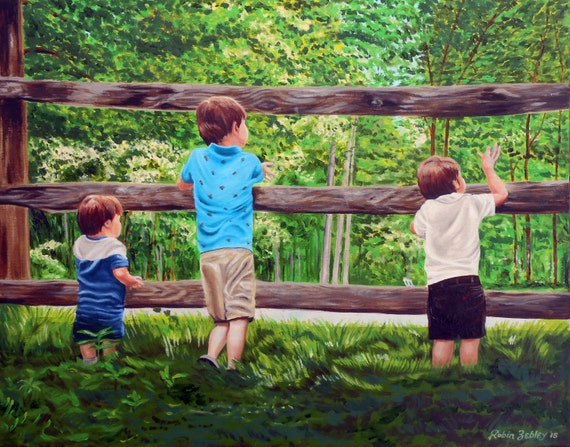 Landscape Painting with Kids Portraits from Photos
