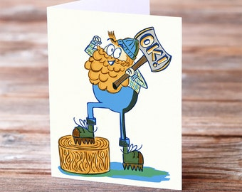 Lumberjack Happy Birthday Funny Beard Bearded Manly Real Man Greeting Card