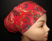 Embroidered Batik on Red Medical Surgical Scrub Hat Vet Nurse Chemo CRNA Euro Style