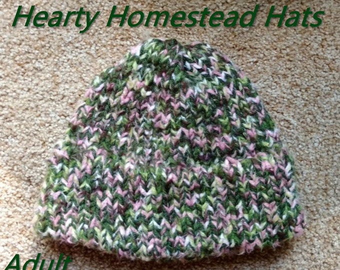 Hearty Homestead Hat - thick handknit hats with stylish hemmed brim -  ADULT