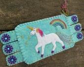 Unicorn Art, fiber art, Rainbow Coffee Coaster, Unicorn Mug Rug, Multi-colored coaster