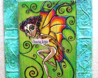 Butterfly Fairy Woodburned Art - Mixed Media Fairy Painting - Big Eye Fairy - Copper Frame Fairy Art - Fantasy Fairy Butterfly - Pyrography