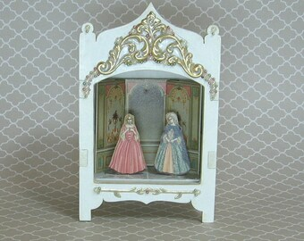 Miniature Toy Theater Vignette in White