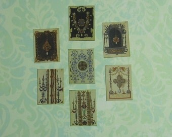 Dollhouse Miniature Set of Seven Medieval Jewelry Drawings