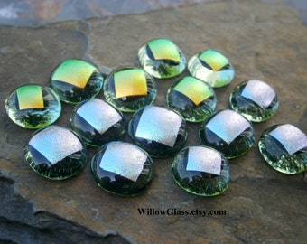 Dichroic Glass Cabochons, 14 Grass Green with Dichroic Dots Glass Cabs, Cabochons by Willow Glass