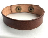 "Narrow 5/8"" Wide Tan Leather Cuff Bracelet Wristband by Shaterra"