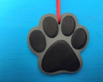 Pewter GREY - Paw Print Shaped Wood Ornament  HoliDOGS