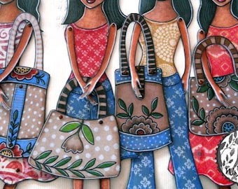 Six Paper-doll Purses  printable paper-doll accessories ready to print