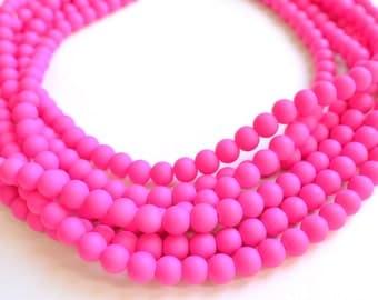 The Michelle- Neon Pink Matte Bead Statement Necklace