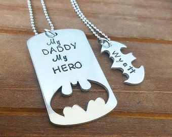 My Dad My Hero Bat Hero Daddy and Daughter and Son Personalized Hand Stamped Matching Necklaces His and Hers Family Set- She Calls Me Daddy