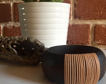 Wrapped leather bangle--2.5 inch--black stained wood with tan leather wrap