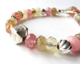 Cherry Quartz  Beaded Bracelet, Watermelon Pink, Sterling Silver and Quartz, Boho Style Fashion Bracelet, Toggle Clasp, Pink Gemstones