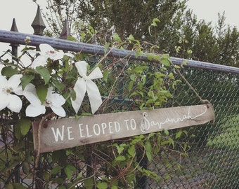 Eloped Sign. We Eloped. Just Married Sign. Wedding Announcement. Rustic Wedding. Wedding Sign. Reclaimed Pallet Wood Sign.