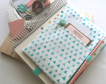 Turquoise triangles print zipper pouch, school bag, pocket planner pouch, planner band, planner organizer pouch fits MANY planners