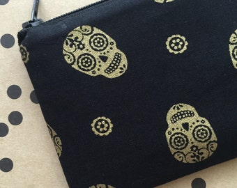 Skull pouch - Black Pouch - Gold sugar skulls pouch - black coin purse - zippered pouch - skull bag