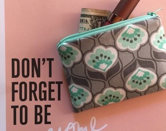Mint and Grey Floral Print - zipper pouch - change purse - phone case - Under 10 gift