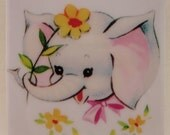 Vintage Baby Elephant Tile Coaster