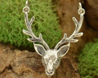 Sterling silver large deer antler pendant. Festoon link.