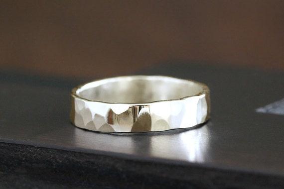 14k gold hammered band, wedding ring, handmade, eco friendly
