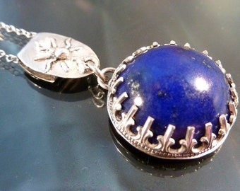 Celestial Lapis Pendant Necklace sterling silver midnight blue stars under the sun