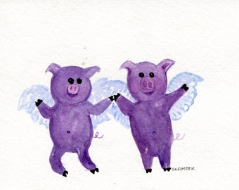 watercolor painting original, Purple Flying Pigs  5 x 7 when pigs fly, pigs with wings art, flying pig art decor, watercolor art, painting