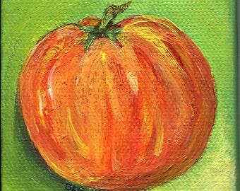 Pumpkin painting, pumpkin mini canvas original little painting, Canvas, Easel, 3 x 3, orange acrylic painting canvas art Fall decor