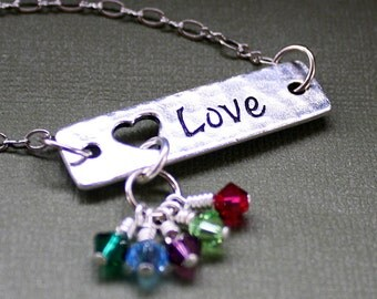Love Necklace with Childrens Birthstones - Crystal Birthstone Pendant - Mother or Grandmother Necklace