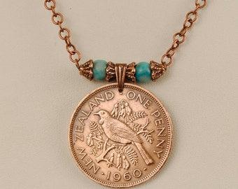 New Zealand Coin Necklace 1960 Tui Bird
